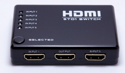 HDMI SWITCH 5 Inputs 1 Output with Power Adapter, IR Remote Control