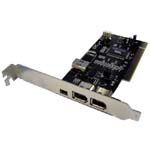 PCI 1394 Firewire Controller Card, VIA Chipset (2 ports 6P + 1 port 4P + 1 port 6p internal)