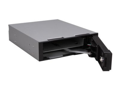 "VANTEC MRK-401ST-BK 3.5"" Aluminum Removable Trayless SATA Hard Drive Rack With LCD and Fan"