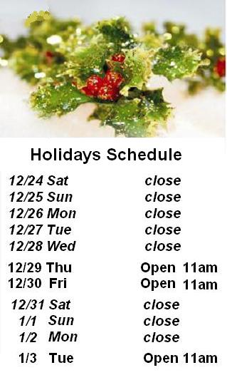 Holidays Schedule