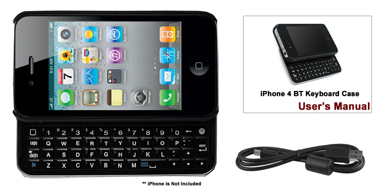 iPHONE 4/4S MINI BLUETOOTH SLIDING KEYBOARD with HARD SHELL CASE (BLACK)